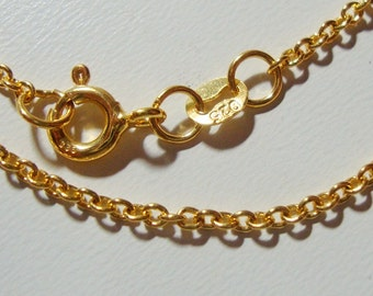 24K Gold Vermeil Sterling Silver Cable Chain, Medium Weight Chain, 16 Inches, 39cm, 2.5x2mm