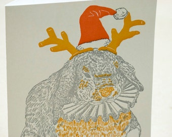 SALE - Letterpress Christmas Holiday Card - Yuletide Bunny - 60% off