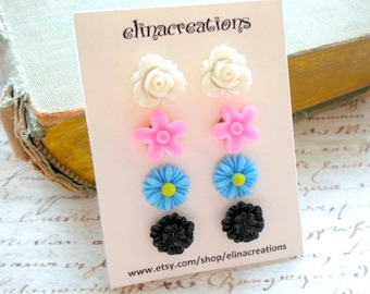 Floral Stud Earrings Flower Girl Earrings Gift Set Post Flower Earrings Children Earrings Romantic Floral Jewelry Floral Post Earrings
