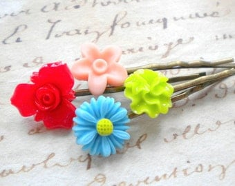 Flower Girl Gift Colorful Bobby Pin Colorful Hair Accessories Children Bobby Pin Gift For Girls Floral Bobby Pin Cabochon Flower Hair Pin