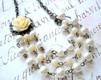 Ivory Wedding Necklace Pearl Statement Necklace Ivory Bridal Necklace Rustic Wedding Jewelry Pearl Wedding Necklace Ivory Necklace