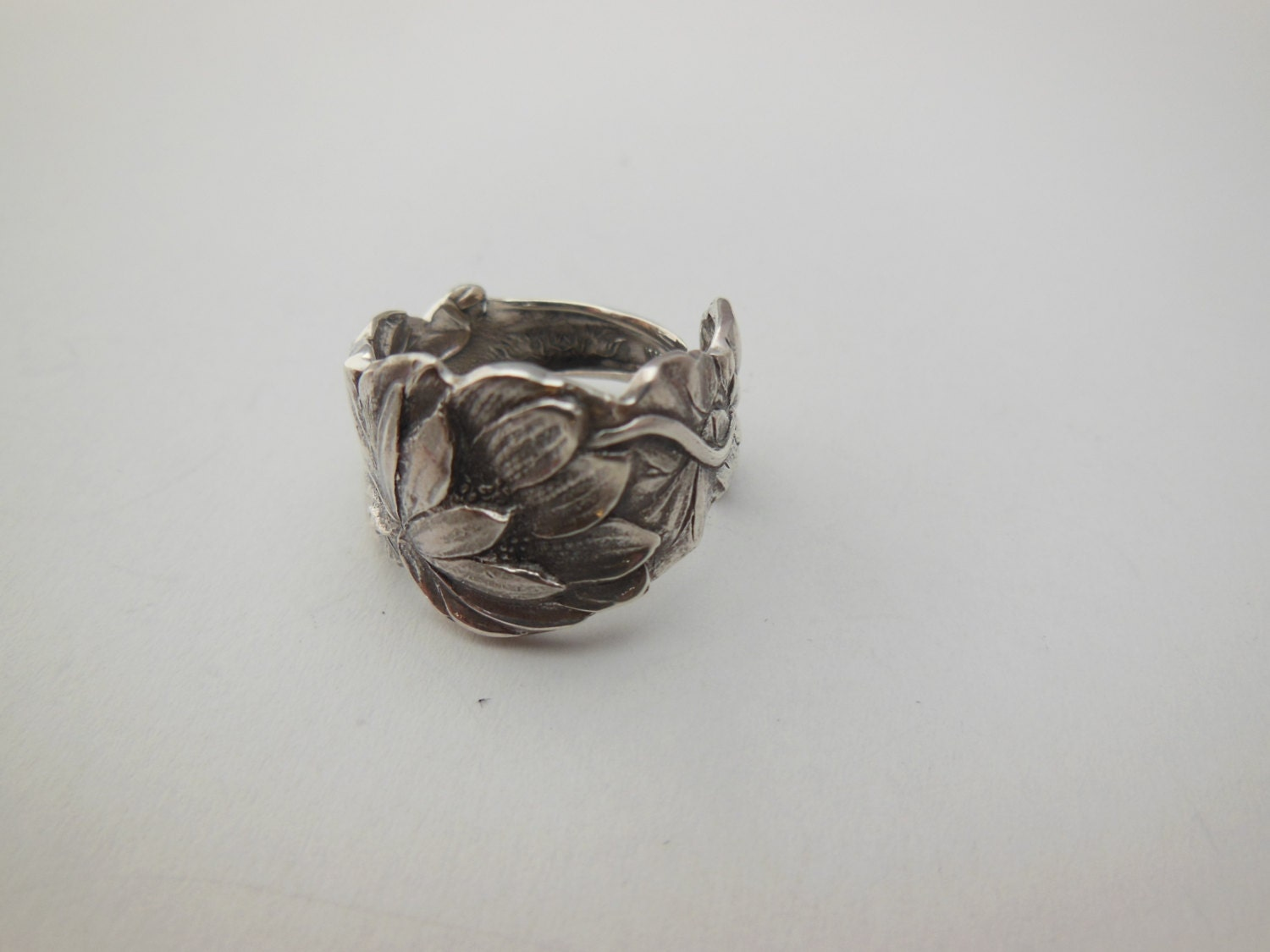 antique spoon ring size 6 and a half sterling silver water