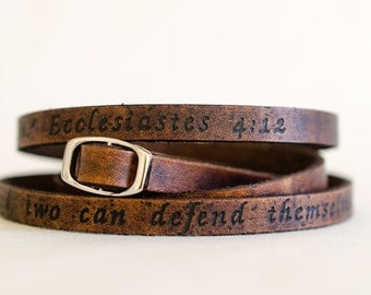 Scripture Ecclesiastes 4:12 - Ultra Long Carved Bible Verse Leather Wrap Bracelet