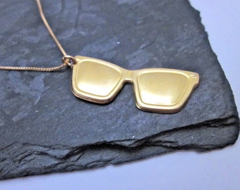 Sunglasses Pendant -- Gold Sunglasses Necklace -- Glasses Jewelry -- Hipster Jewelry