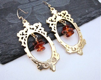 Gold Oval Earrings -- Amber Dangle Earrings -- Gold Frame Earrings -- Amber Bead Earrings -- Amber & Gold Earrings -- Framed Bead Earrings