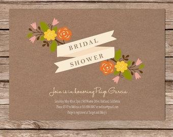 Printable Bridal Shower Invite / Kraft paper with flowers