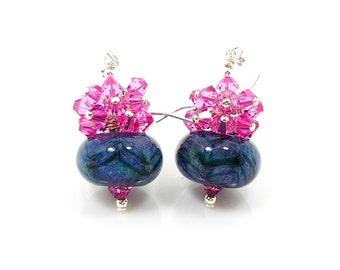Pink & Blue Earrings, Boro Glass Earrings, Cluster Earrings, Glass Bead Earrings, Beaded Earrings, Beadwork Earrings, Lampwork Earrings
