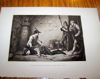 1897 J. L. G. FERRIS PINX lithograph depicting Count Gaston Phoebus and his Son