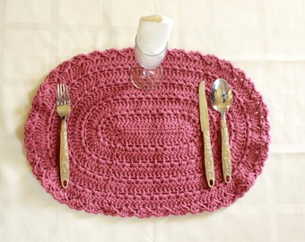 Acrylic Hand-Crocheted Oval Placemats Doilies Table Mats Handmade Lunch Mats Dinner Mats COUNTRY ROSE
