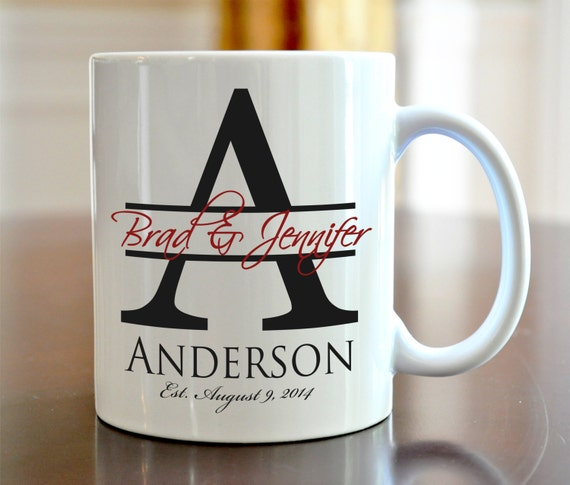 Personalized Coffee Mug Bride and Groom Wedding Large Initial Coffee Mug