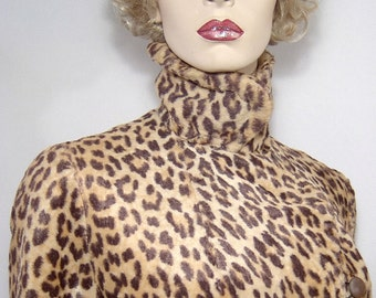 Gorgeous caramel 1950s 1960s leopard print faux fur jacket - Medium - 8 / 10 - car coat lined with black fleece