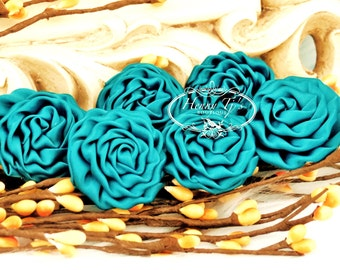 New: 6 pcs PEACOCK Teal GREEN  1.5 inch Adorable PETITE Matte Satin Rolled Rose Rosettes Fabric flowers. Mini Silk Rolled Rosette Appliques.