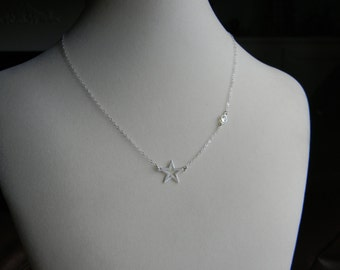 Sterling Silver, Star And Crystal Necklace, Glee Inspired, Worn by Rachel Berry, Lea Michele, Finn Hudson Gift, Shooting Star