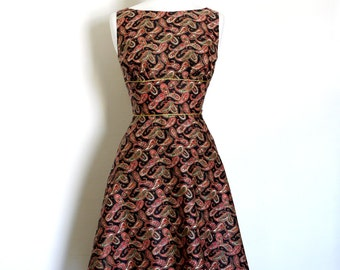 Size UK 14 (US 12) - Black and Red Paisley Print Cotton Tea Dress-  Made by Dig For Victory