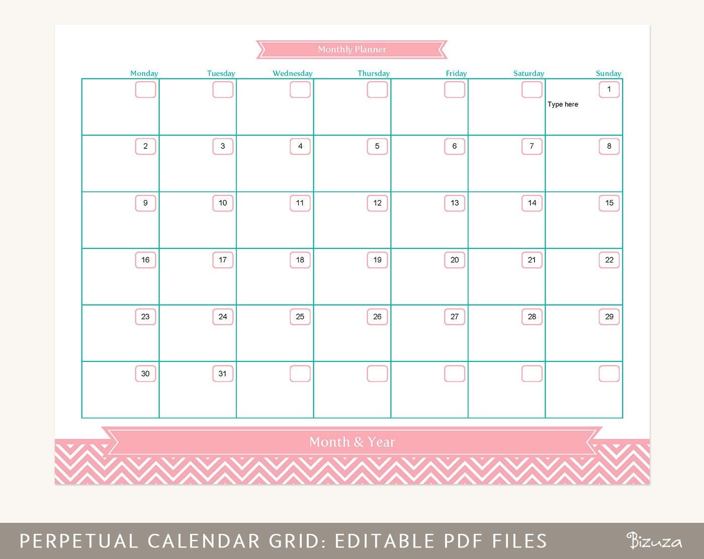 Monthly Calendar Grid : Calendar planner grid month at a glance printable editable