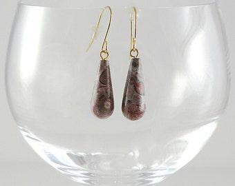 Leopardskin Jasper Earrings Gemstone Earrings Gray Red Jasper Earrings Leopardskin Jasper Gemstone Earrings