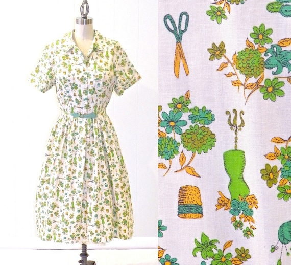 SALE 50s Dress, 1950s Cotton Novelty Dress, New Old Stock Medium