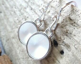Matte White Crystal Earrings - Swarovski Crystal Circle Earrings, Sterling Silver, Rivoli Earrings, Fashion Jewelry, Ocean Mist