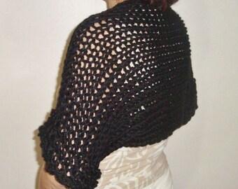 Women's Black loose knit shrug, shrugs and boleros, gift for mom, bolero jacket, evening bolero, shrug bolero, womens gift