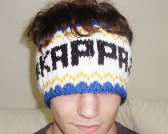 Hand knit headband with word for womens headband for mens headband knit personalized gift blue yellow white black