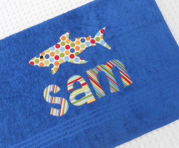 Personalized  Name and  Applique  Towel .....   You can choose fabrics for name and applique