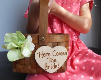 Small Flower Girl Basket with Chalkboard or Wood Tag Rustic Wedding Flower Girl with Hydrangeas and Personalized
