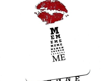 Love.Lovers.KissMe.Eye Chart.Card.Valentines Day Card.Red Lip Stick.Paper Goods.Eye Exam.Site.Vision.Optometrist.Eye Doctor. by Yvonne4eyes
