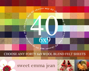 6x9 Wool Felt Sheets - Choose Any Forty (40) - Wool Blend Felt