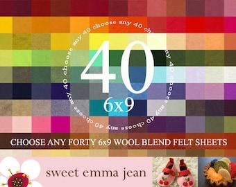 6x9 Wool Felt Sheets - Choose Any Forty (40) - Wool Blend Felt