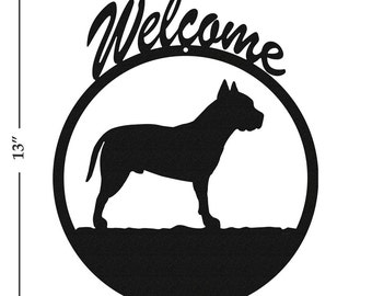 Dog American Stafford Pit Bull Black Metal Welcome Sign
