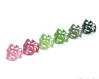 NEW Set of 10 You Create..Multi..Assortment..Adjustable..Filigree Ring Base with Pad..TOP QUALITY... 20mm... Make the Mix Yourself