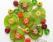 Lampwork Flower Glass Beads, FREE SHIPPING, Set of Handmade Grass Green Glass Disc Beads - Rachelcartglass