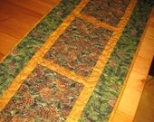 Quilted Table Runner Pine Cones Pine Boughs Mountain Rustic Cabin Lodge Handmade