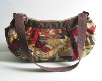 Small Pleated Shoulder Bag in Red, Gold and Brown Koi Fish