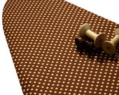 For Amy Custom PADDED Ironing Board Cover made with Riley Blake Farm Fresh brown with cream polka dots