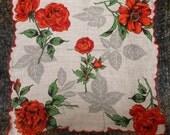 Vintage Red Rose Handkerchief