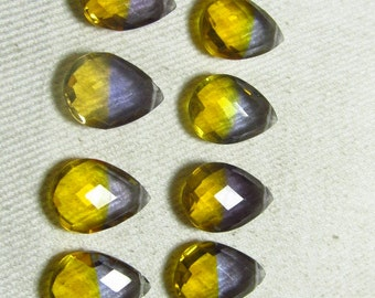4 Matched Pair - AAAA - High Quality Gorgeous Ametrine Quartz Pear Briolett Super Sparkle Huge size - 10x14 mm - drilled