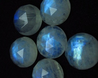 15 mm - 6 pcs - AAA  high Quality Rainbow Moonstone Super Sparkle Rose Cut Faceted Round -Each Pcs Full Flashy Gorgeous Fire