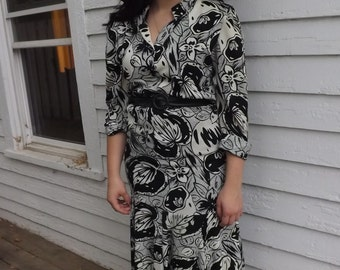 Retro 80s Print Dress Black Off White Ivory Vintage 8 S Rothschild