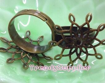 5 pcs Adjustable Antique Brass Flower Filigree Rings (FR001)