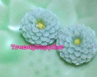6 pcs Little Round Chrysanthemum Cabochon, Aquamrine (S007/Y)