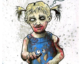 Twitter Zombie - 8x10 Art Print