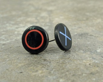 Play Station, Earrings, Stud, Post, Controller, recycled, upcycled, Accessories, Gamer, Gaming, Gift, Birthday, Geek, Nerd