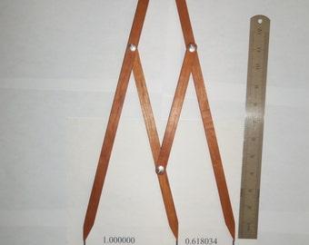 Fibonacci Gauge, Golden Ratio Design Tool, PHI Caliper--Triple Size--Cherry