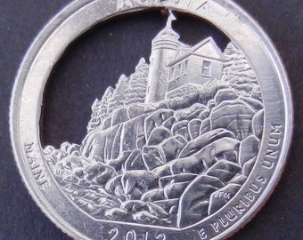 Acadia National Forest Quarter Cut Coin Jewelry