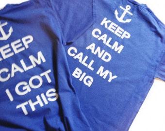 sorority t shirt, big little t shirt, keep calm and call you big t shirt,  short sleeved listing