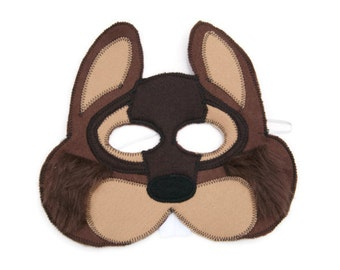 Chipmunk Fur Mask, Woodland Animal Mask, Animal Birthday Party Favor, Children's Halloween Costume, Adult Mask, Adult Costume