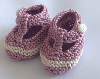 Vintage inspired baby gift set - old rose pink/ ivory hand knit t bar shoes with vintage ivory buttons -  ready to ship