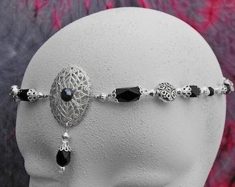 Renaissance circlet, Silver elven circlet wedding silver circlet bridal silver crown,Wiccan Circlet, wedding tiara, bohemian halo head piece