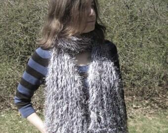 Grey Fun Fur and Fuzz fishnet scarf